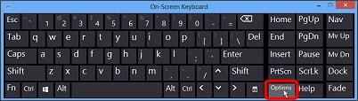 Image of On-Screen Keyboard with Options key highlighted