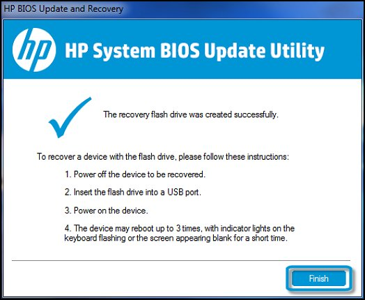 The recovery flash drive was created successfully in HP System BIOS Update Utility