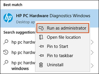 Executar o HP PC Hardware Diagnostics Windows como administrador