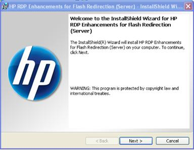 HP RDP Enhancements for Flash Redirection 的 InstallShield 精靈一開始會顯示歡迎對話方塊。