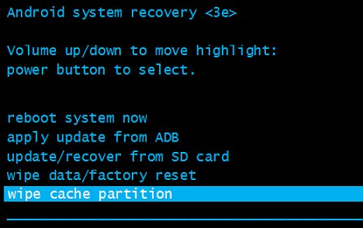 wipe cache partition highlighted in Android system recovery menu