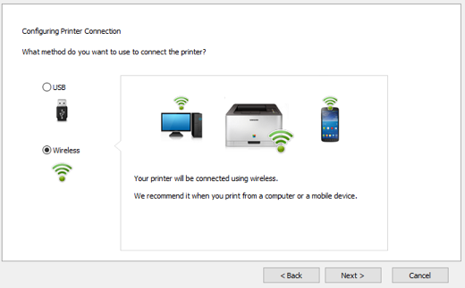 Image shows selecting wireless connection