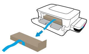 Opening the printhead access door and removing the tape and packing material from inside the printer