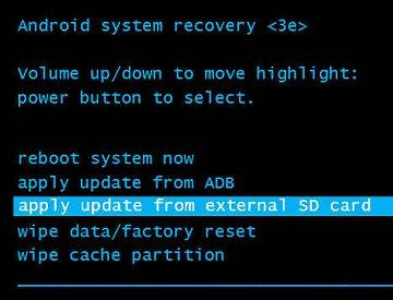 Aplicar actualización desde tarjeta SD externa