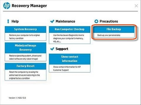 HP PCs - Backing Up Your Files Using HP Recovery Manager