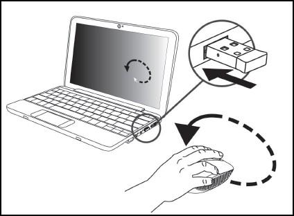 El receptor inalámbrico USB insertado en un puerto USB
