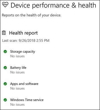 Health report in Windows Security