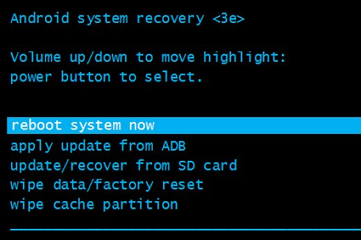 reboot system now highlighted in Android system recovery menu
