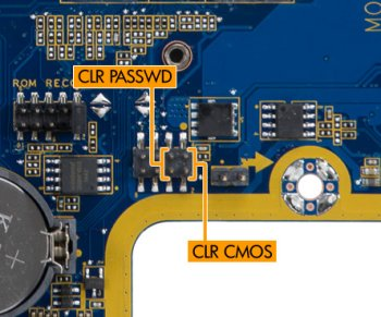 Clear CMOS and clear password locations