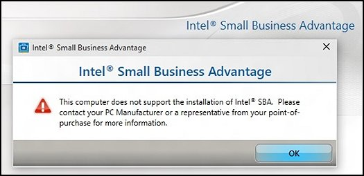 Message d'erreur d'Intel Small Business Advantage