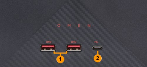 OMEN X I/O-poorten voorzijde (dockingstation)