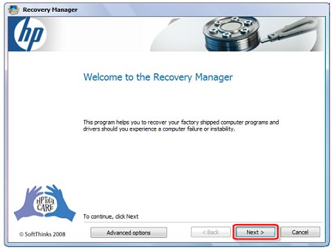 Welcome to recovery manager screen with selection