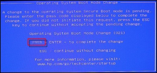 Boot Mode Change with the pass code highlighted