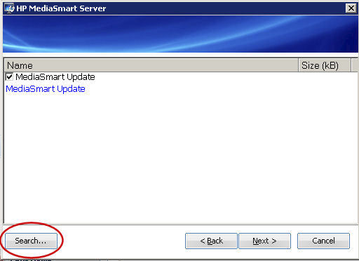 HP MediaSmart Server Settings Search