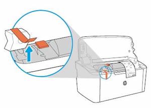 Extraer el material de embalaje del interior de la impresora