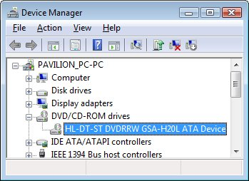 Device Manager window, DVD/CD-ROM drives category