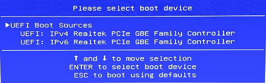 Desktop network select boot device