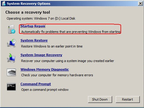 Image: System Recovery Options
