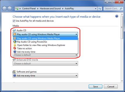 Audio CD options in AutoPlay