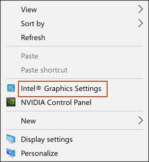 Clicking the Graphics Settings