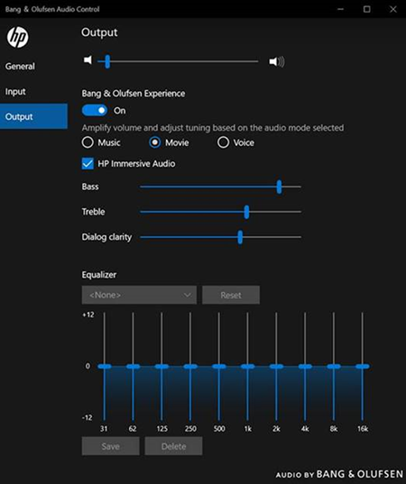 Output settings for movie mode