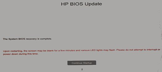 Photo of HP BIOS Update screen showing a Continue Startup button