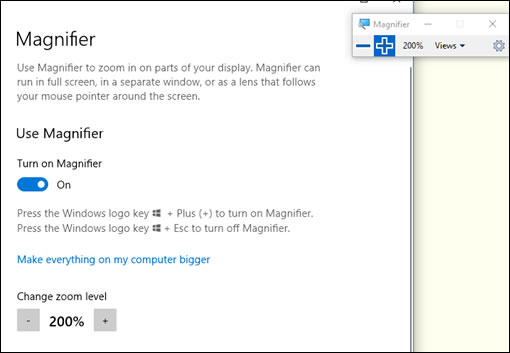 When you turn on Magnifier, the magnifying toolbar displays