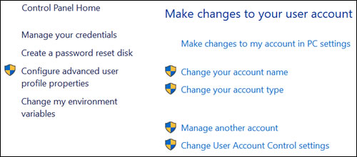 Make changes to your user account window