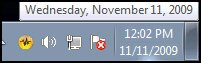 Time and date displayed from taskbar