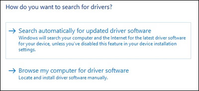 Updated Driver Software: Search automatically for updated driver software
