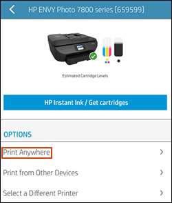 "Tippen auf ""Print Anywhere"" in der HP Smart-App"