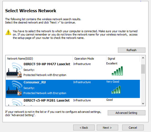 Image shows wireless networks available