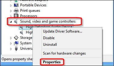 Image of Device Manager, audio device properties