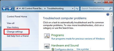 Change settings Troubleshooting Control Panel option