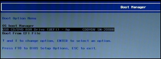 Menu des options de démarrage