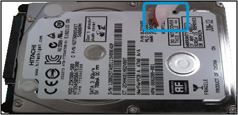 Example of a broken HDD warranty seal