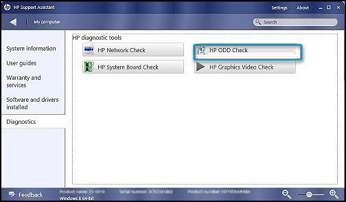 Diagnostics tools with HP ODD Check selected