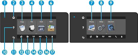 HP Officejet Pro Printers - Control Panel Description | HP® Customer