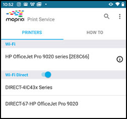 List of Wi-Fi and Wi-Fi Direct printers in the Mopria app