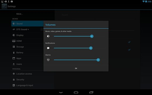 Volumes in the Sound settings menu
