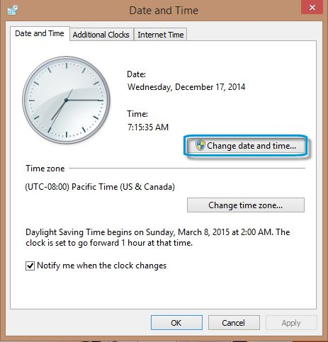 Image: Change date and time