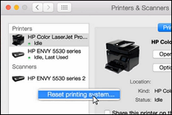 Image: Click Reset printing system