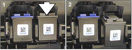 Photo of removing the black or photo cartridge