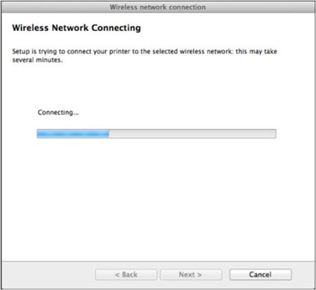 Image shows the wireless network attempting to connect to the printer
