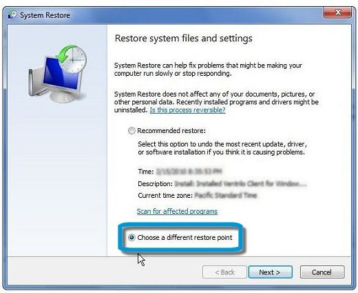 System Restore: Choose a different restore point