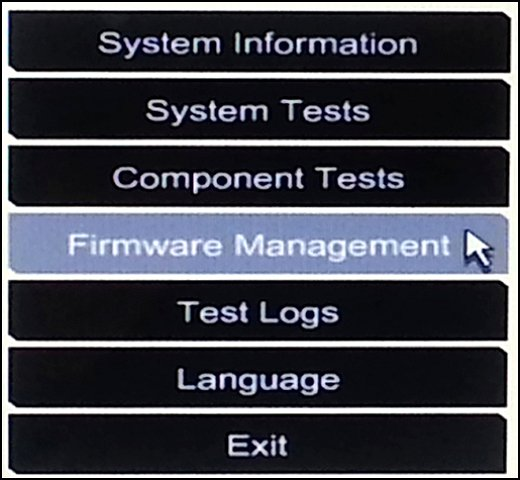 Firmware Management in the Hardware Diagnostics UEFI menu
