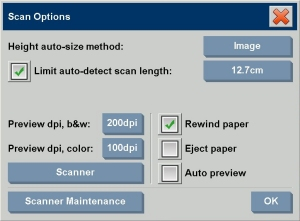 Scan options dialog