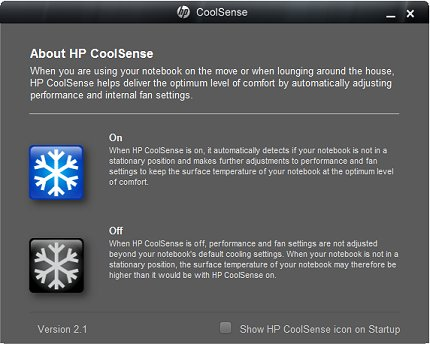 Image of About HP CoolSense screen