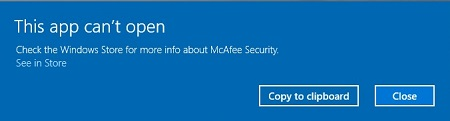 McAfee Security message