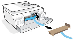Opening the printhead access door to remove packing material from inside the printer